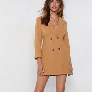 Nasty Gal camel blazer dress BNWT B